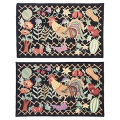 77917-77918 Matching Pair of Vintage Rooster Hooked Rugs