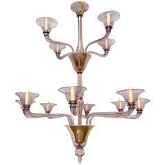 Large Murano Amethyst Glass Chandelier