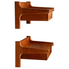 Wall Mounted Bedside Tables in Teak by Borge Mogensen, 1960s, Set of 2
