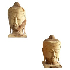 Large Carved Wood Buddha Heads, Pair