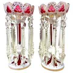 Pair Antique Bohemian Ruby, White and Clear Glass Candle Lusters, Circa 1840