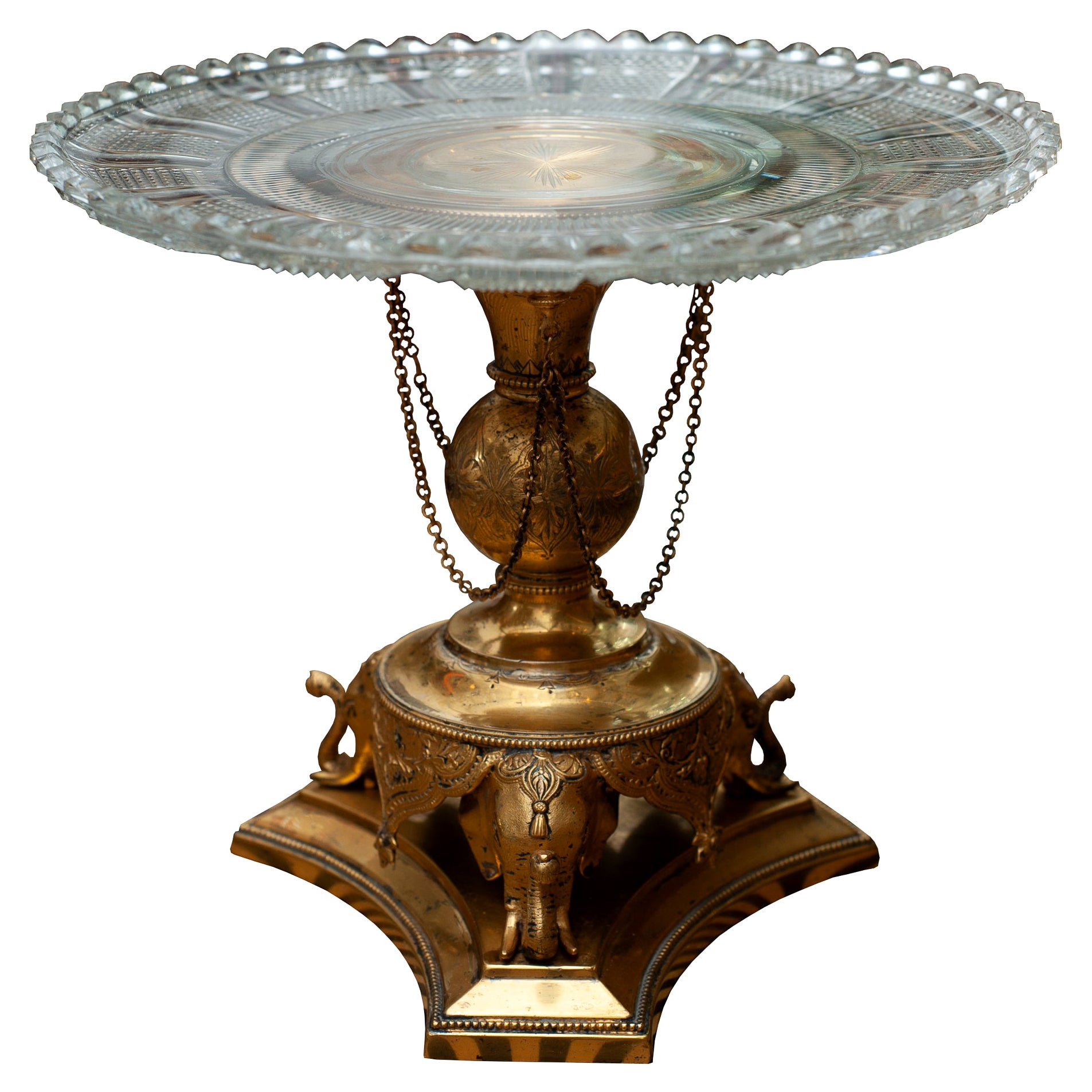 Antique English Cut Crystal and Bronze Tazza / Compote / Dish