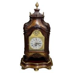 Large French Brass Inlaid Mahogany Planchon a Paris Mantel Clock