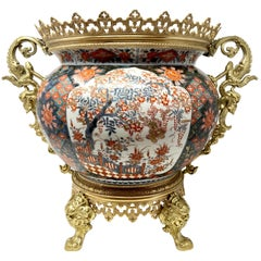 Antique Imari Porcelain Jardiniere with Bronze Mounts, circa 1895