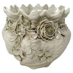 Antique Irish Belleek Porcelain Pottery Jardiniere Bowl Centerpiece 1891-1926