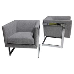 Milo Baughman Petite T-Back Chairs in Holly Hunt Outdoors Boucle