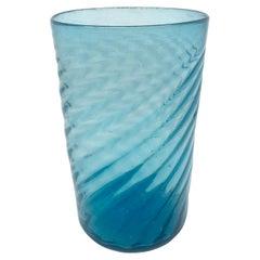 Aqua Blue Swirl Glass Vase