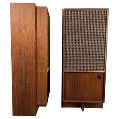Pair Modernist Walnut Audio Speakers by Bozak, Frank Lloyd Wright Design