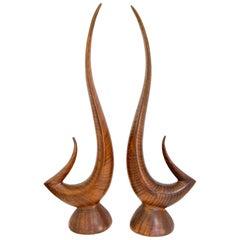 Ceramic Faux Bois Sculptures, Pair