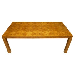 Milo Baughman Olivewood Burl Parsons Dining Table