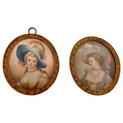 Pair Portrait Miniature Paintings, Young Lady Signed J.B. Royby