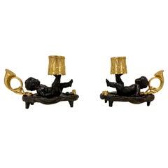 Pair of Antique Gilt & Patinated Bronze Cherub Mounted Chamber Sticks 19th C