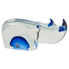 Murano Glass Rhinoceros Designed by Antonio Da Ros for Cenedese