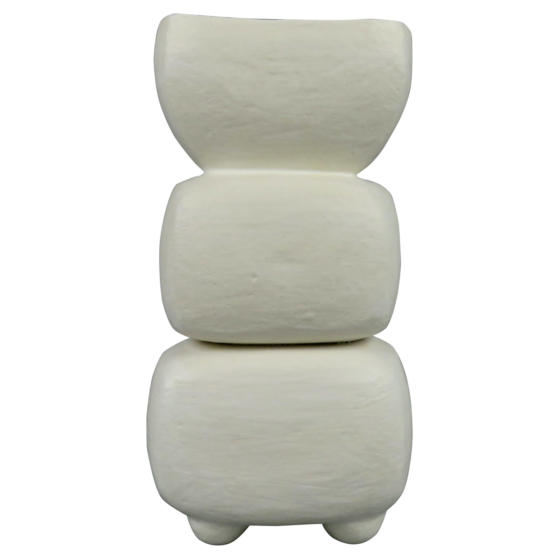 Creamy White 3-Part Totem, Rectangular Cup on Top, Hand Built Ceramic Sculpture