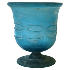 Blue Scavo Art Glass Urn Vase