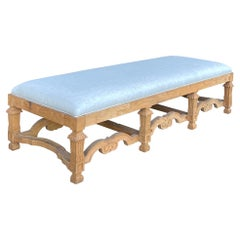 French Style Stripped Oak Ottoman in Blue Linen 2 Available