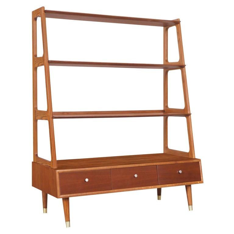 Mid-Century Modern 4-Tier Walnut Bookshelf For Sale