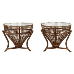 Pair Franco Albini Style Fishing Basket Occasional Tables