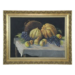 Still Life Painting of Gourds in 19th Century Giltwood Frame