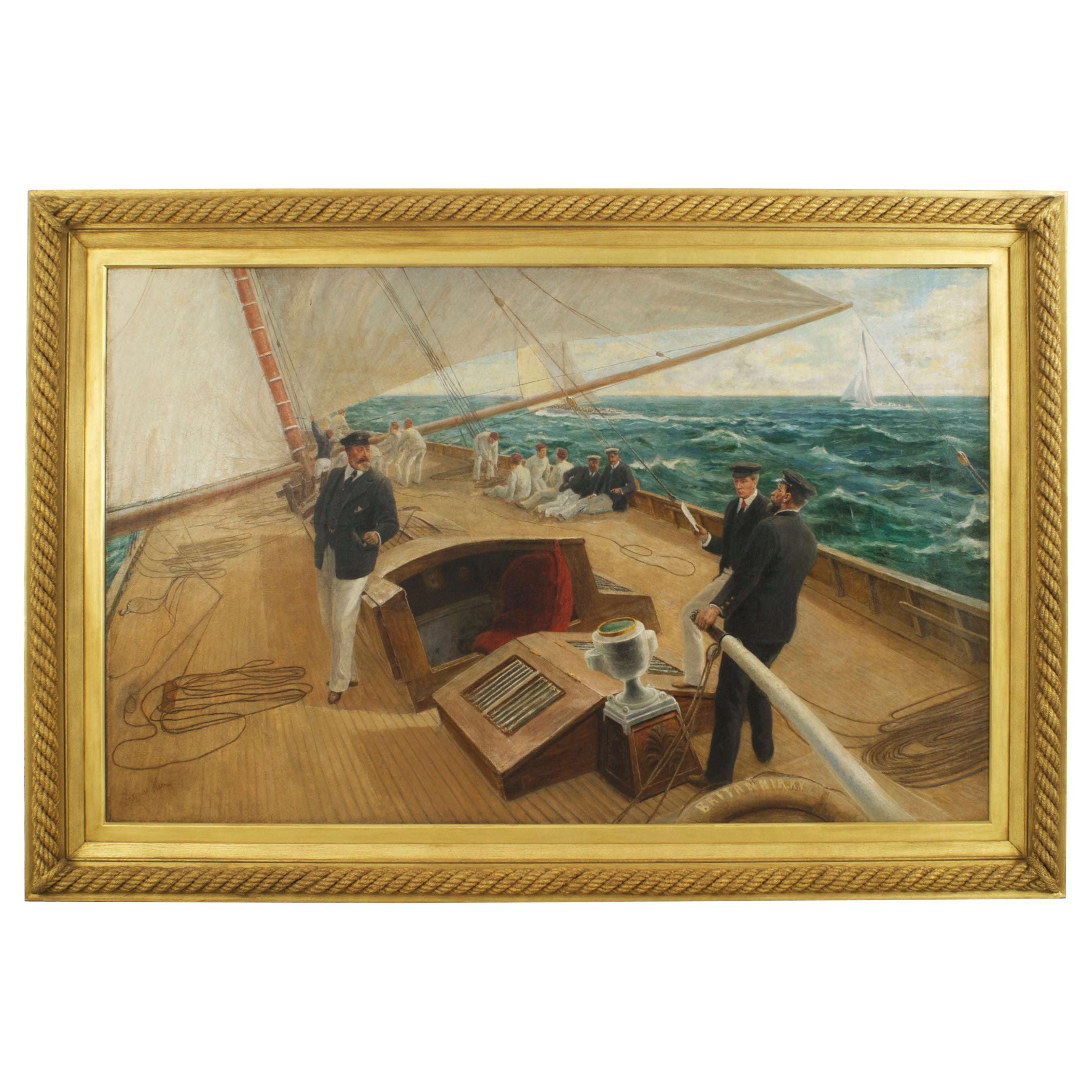 Monumental Seascape Oil Painting, on the Brittania by Tom Henry Painting