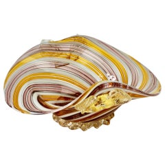 Pink, Yellow & Gold Leaf Murano Glass Filigrana Bowl, Dish or Ashtray, c.1960s