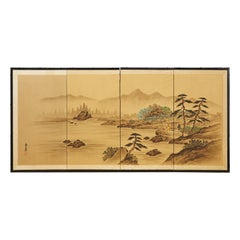 Japanese Showa Four Panel Screen Landscape with Figures