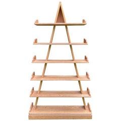 Late 20th Century Oak Piramid Bookcase, Memphis Style