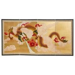 Japanese Four Panel Byobu Screen Dragon Chasing Flaming Sun