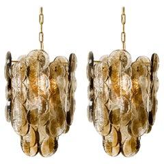 Pair of Large Kalmar Chandeliers Citrus Swirl Smoked Glass, Austria, 1969