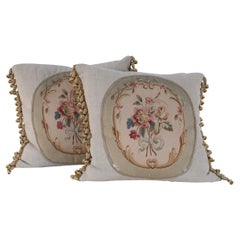 Pair of French Victorian Square Linen Pillows with Aubusson Floral Center