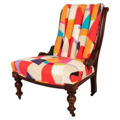 Antique English Victorian Armchair Upholstered in Sanderson Fabric, C.1880