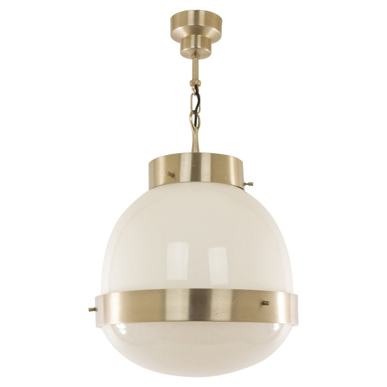 Delta Glass and Nickel Pendant by Sergio Mazza for Artemide, 1960s For Sale
