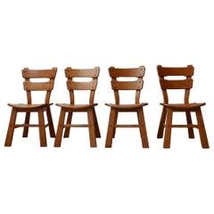 Set of Four Brutalist Oak Belgium Dining Chairs '4'