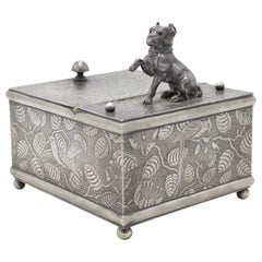 English Arts & Crafts Pewter Box with Dog Figure