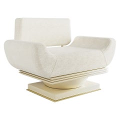 21st Century Modern White Armchair Bouclé Lacquered in Gloss