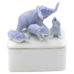 English Victorian Porcelain Elephant Box