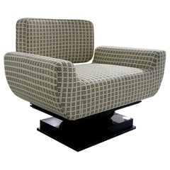 21st Century Modern Geometric Black and White Armchair Bouclé Lacquered in Gloss