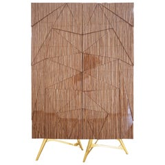 Modern Cabinet in Wood Structure & Gold Polished Brass Legs