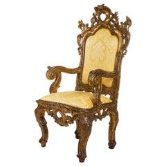 Italian Rococo Gold Damask Throne Chair
