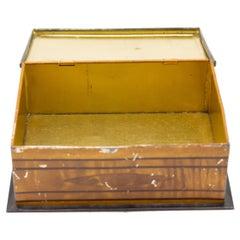 English Victorian Trompe L'oeil Marquetry Tin Box