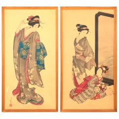 Pair of Large Early 20th Century Japanese Signed Woodblock Prints, C.1930
