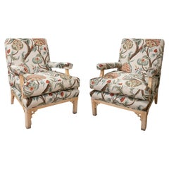 Pair of 1980s Spanish Reupholstered Wooden Sofa Chairs