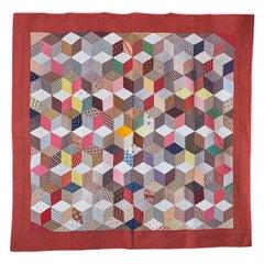 "Antique Handmade Patchwork ""Tumbling Blocks Charm"" Quilt, USA Late-19th Century"