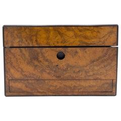 English Victorian Burl Wood Makeup Box