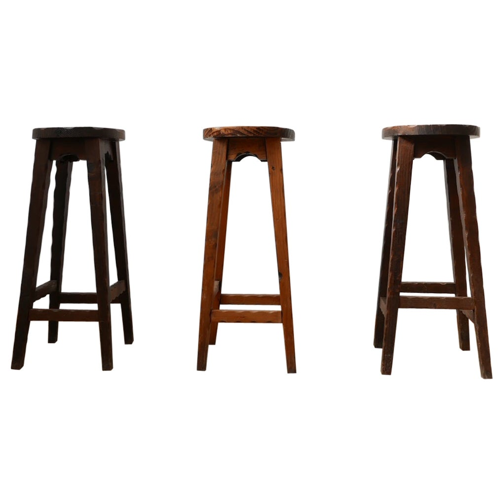 Set of Three Brutalist French Wooden Bar Stools