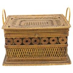 English Victorian Wicker Box