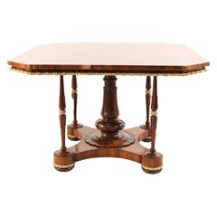 English Regency Square Canted Corner Walnut and Brass Trim Center Table