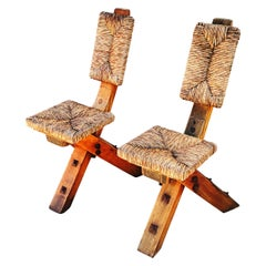 Rare Pair of Solid Brutalist Wooden and Straw Chairs, Spain, 1960s