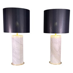 Pair of Monumental Lamps in Brass and Marble Carrara Italy, 1970-80