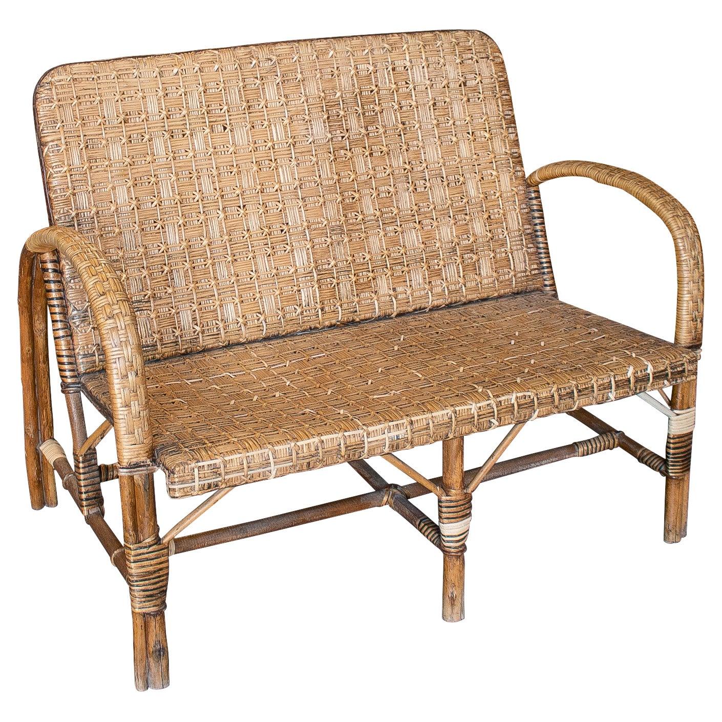 1950s Spanish 2-Seater Woven Wicker & Wood Sofa